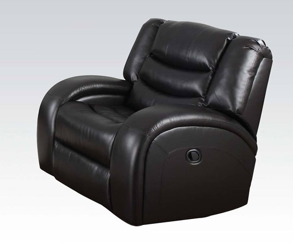 Dacey Black Bonded Leather Match Wood Glider Recliner ACM-50742