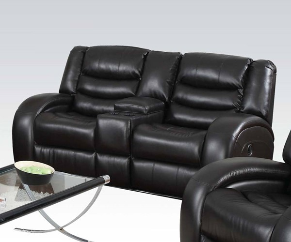 Dacey Black Bonded Leather Match Wood Motion Loveseat w/Console ACM-50743
