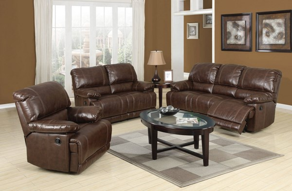Daishiro Standard Chestnut Bonded Leather Match Wood Living Room Set ACM-507
