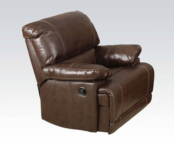 Daishiro Chestnut Bonded Leather Match Wood Recliner ACM-50747