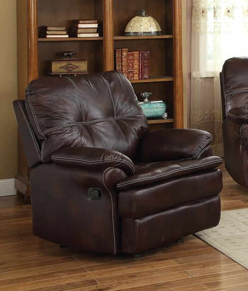 Zamora Brown Fabric Pillow Top Arms & Tufted Back Recliner ACM-50752