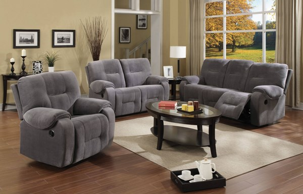 Villa Light Gray Fabric Wood 3pc Living Room Set ACM-50800-S