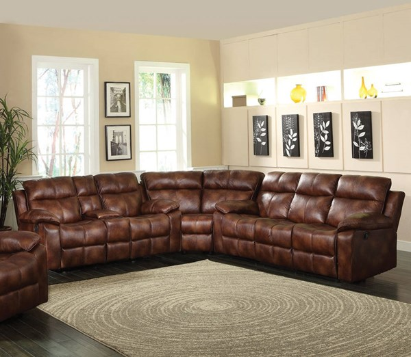 Dyson Light Brown Fabric Wood Cushion Back Sectional ACM-50815-18-S