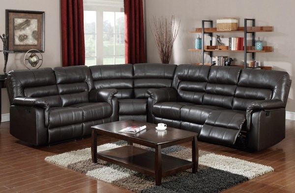 Neon Dark Brown Bonded Leather Match Wood Living Room Sectional ACM-50840-LR-S2