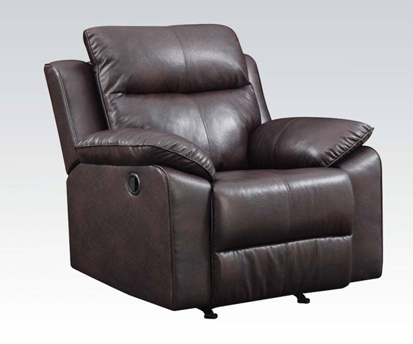 Dyson Burgundy Leather Wood Tight Back & Cushion Seat Recliner ACM-50857