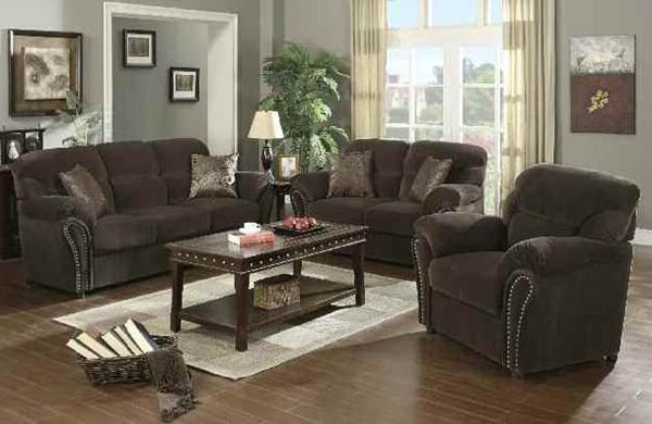 Patricia Olive Gray Fabric Wood 3pc Living Room Set ACM-50950-S