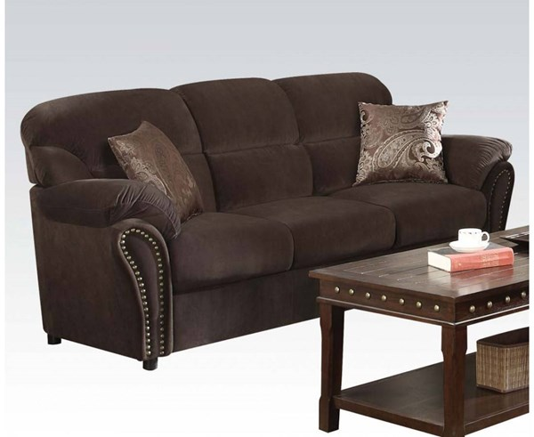 Patricia Olive Gray Fabric Wood Sofa w/2 Pillows ACM-50950