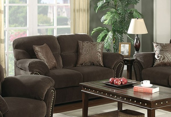 Patricia Chocolate Fabric Wood Loveseat w/2 Pillows ACM-50951CH