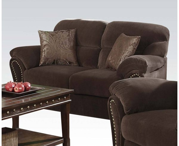 Patricia Olive Gray Fabric Wood Loveseat w/2 Pillows ACM-50951