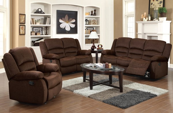 Bailey Chocolate Fabric 3pc Living Room Set W/Pillow Top Arms ACM-51030-1-2-LR-S