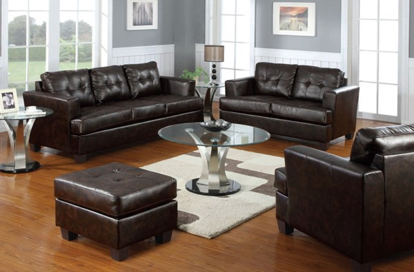 Platinum Contemporary Brown PU Bonded Leather 3pc Living Room Set ACM-51070-S