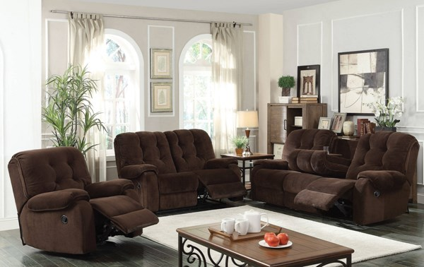 Nailah Chocolate Fabric 3pc Living Room Set W/Button Tufted Back ACM-51145-S