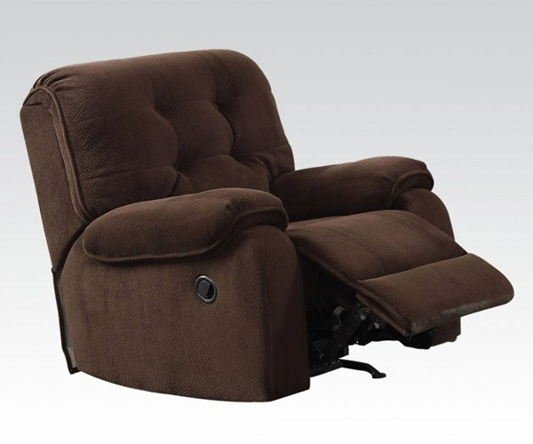 Nailah Chocolate Fabric Wood Tufted Back & Pillow Top Arms Recliner ACM-51147