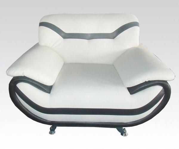 Rozene Contemporary White Black Bonded Leather Wood Chair ACM-51157