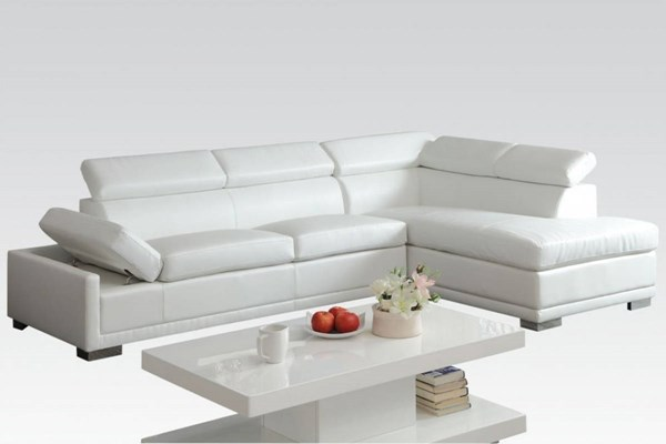 Cleon Contemporary White Bonded Leather PU Wood Sectional Sofa ACM-51165