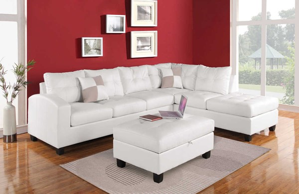 Acme Furniture Kiva White Sectionals with Ottoman ACM-511-SEC-VAR
