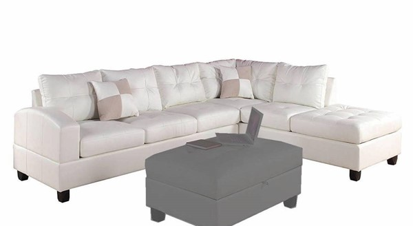 Acme Furniture Kiva White Reversible Sectionals Sofa with 2 Pillows ACM-51175-LF