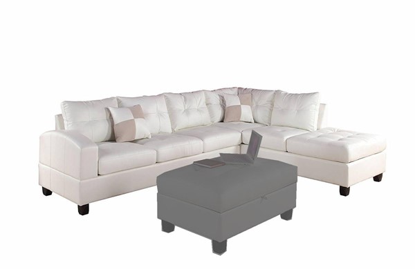 Acme Furniture Kiva White Reversible Sectional Sofa with Two Pillows ACM-51175