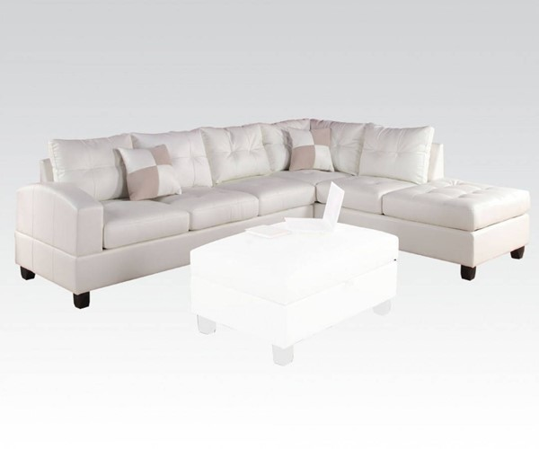 Kiva White Bonded Leather Reversible Sectional Sofa W/2 Pillows ACM-51175