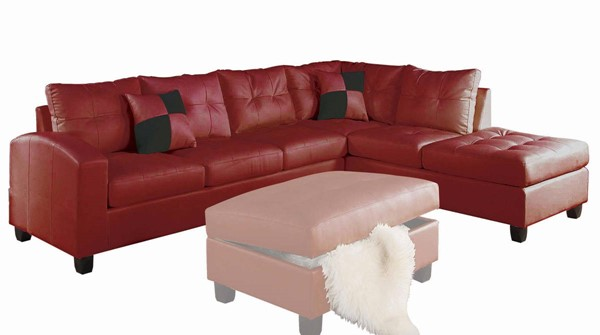 Acme Furniture Kiva Red Reversible Sectional Sofa with 2 Pillows ACM-51185