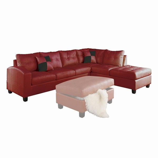 Acme Furniture Kiva Red Reversible Sectional Sofa with Two Pillows ACM-51185