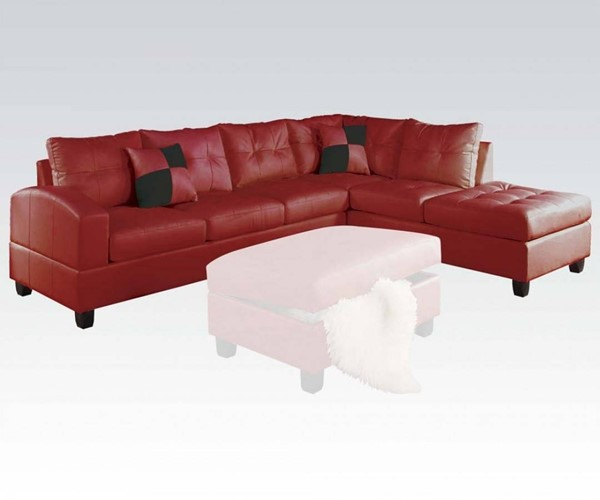 Kiva Red Bonded Leather Reversible Sectional Sofa W/2 Pillows ACM-51185