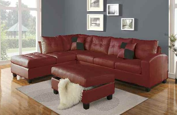 Kiva Collection Red Bonded Leather Raf Sectional Sofa W 2