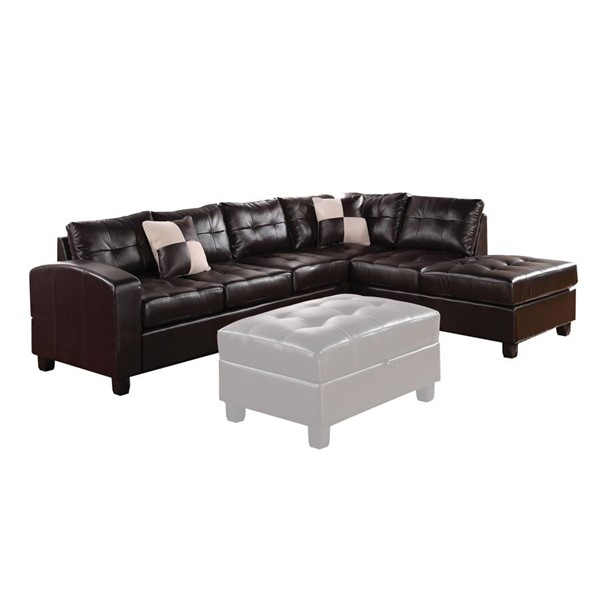 Acme Furniture Kiva Black Reversible Sectional Sofa With Two Pillows ACM-51195
