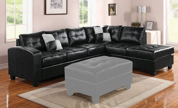 Acme Furniture Kiva Black Reversible Sectional Sofa with 2 Pillows ACM-51195