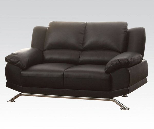 Maigan Black Wood Bonded Leather Tight Back & Seat Loveseat ACM-51206