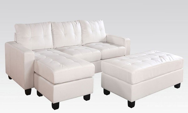 Acme Furniture Lyssa White Reversible Chaise Sectional and Ottoman ACM-51210