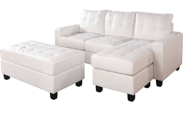 Acme Furniture Lyssa White Reversible Chaise Sectional with Ottoman ACM-51210