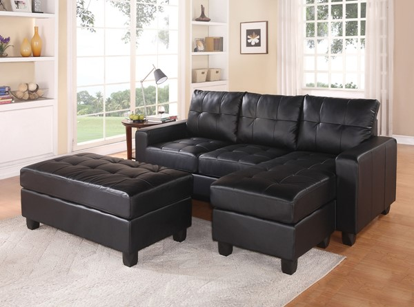 Acme Furniture Lyssa Black Reversible Chaise Sectional and Ottoman ACM-51215