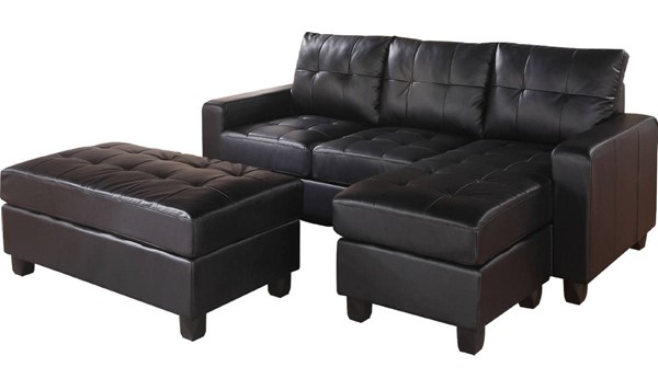 Acme Furniture Lyssa Black Reversible Chaise Sectional with Ottoman ACM-51215