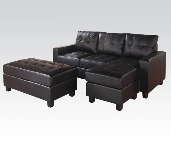 Lyssa Black Bonded Leather Wood Reversible Chaise Sectional & Ottoman ACM-51215