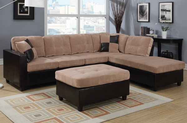 Milano Contemporary Camel Espresso Fabric PU Sectioal Sofa W/Ottoman ACM-51230-32-LR