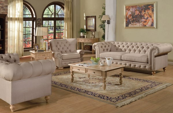 Shantoria Elegant Beige Fabric Wood 3pc Living Room Set ACM-51305-LR-S