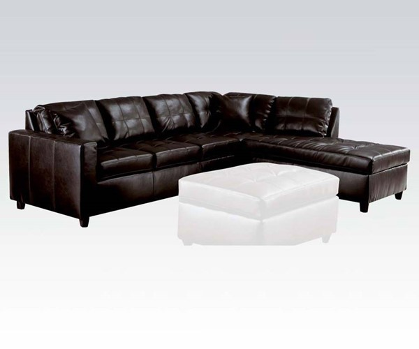Milano Red Leather Sofa: Milano Espresso Bonded Leather Reversible Sectional Sofa W