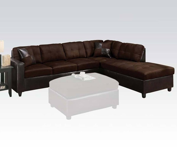 Acme Furniture Milano Chocolate Reversible Sectional Sofa