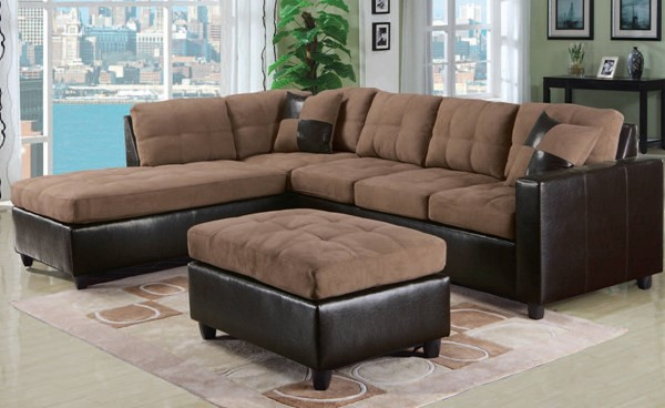 Acme Furniture Milano Saddle Sectional Sofa With Ottoman