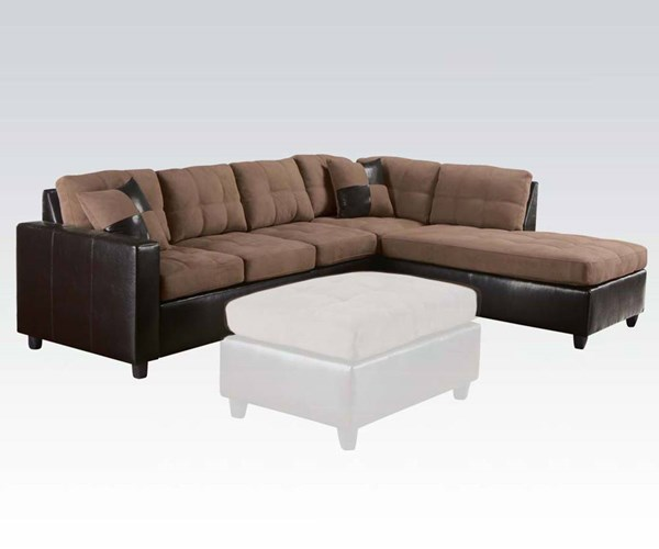 Milano Saddle Espresso Wood PU Reversible Sectional Sofa w/2 Pillows ACM-51330