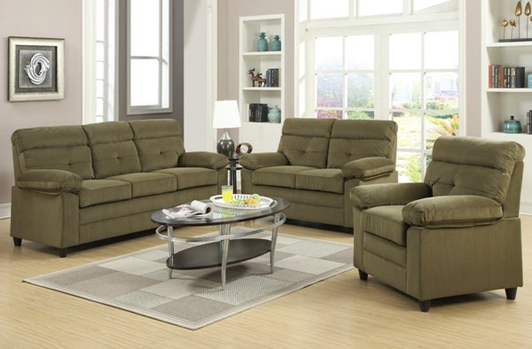 Alicia Brown Fabric Wood Living Room Set ACM-51360-1-2-LR