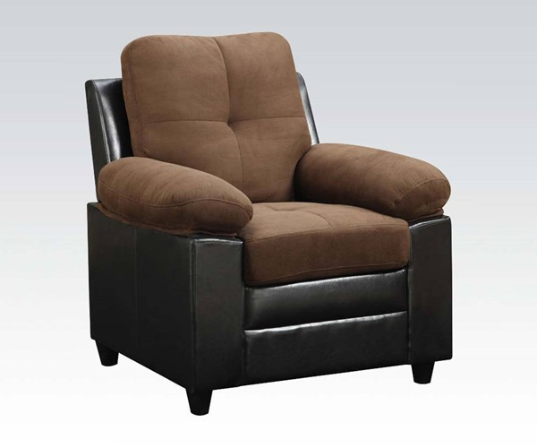 Santiana Chocolate Wood PU Tight Back & Seat Chair ACM-51367