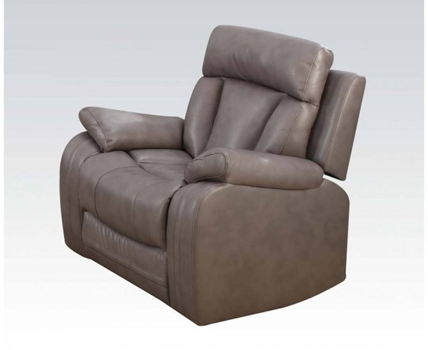 Isidro Gray Faux Leather Wood Metal Motion Recliner ACM-51422