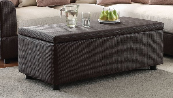 Barlow Brown Fabric PU Storage Ottoman ( L 48 X W 21 X H 16 ) ACM-51437