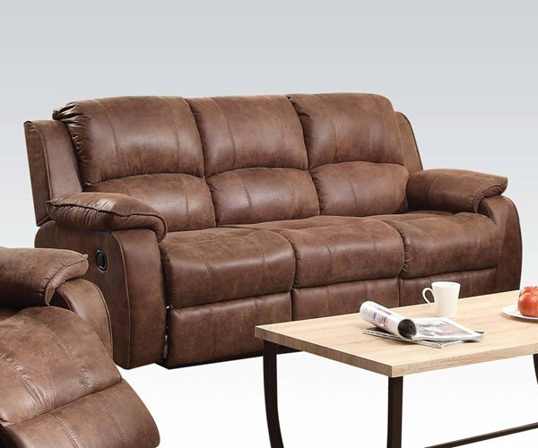 Zanthe II Brown Suede Wood Metal Motion Sofa ACM-51440
