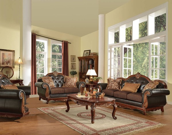 Dorothea Cherry Dark Brown Bonded Leather Fabric 3pc Living Room Set ACM-515-S