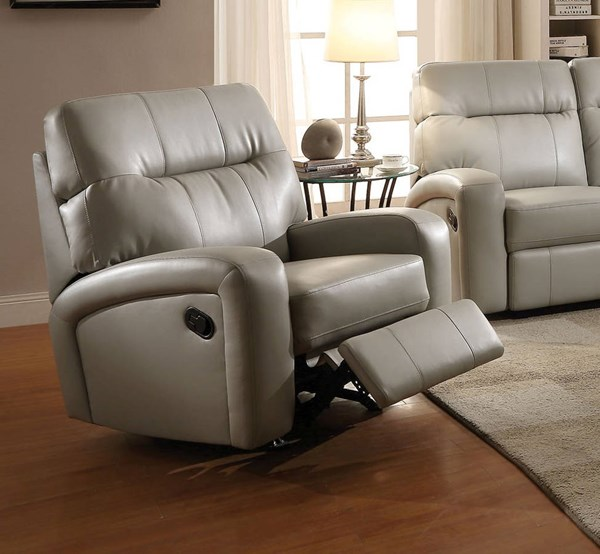 Valery Gray Bonded Leather PU Wood Recliner ACM-51517