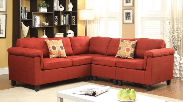 Cleavon Red Fabric Wood Reversible Sectional Sofas w/2 Pillows ACM-5154-SEC-VAR