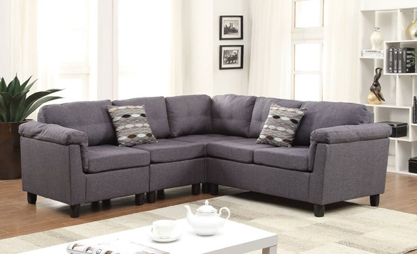 Cleavon Gray Fabric Wood Reversible Sectional Sofa w/2 Pillows ACM-51550